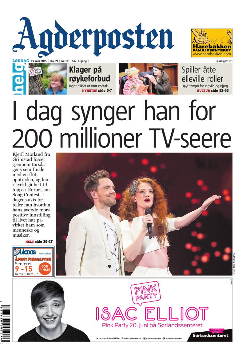 Forsiden av Agderposten - 2015-05-23