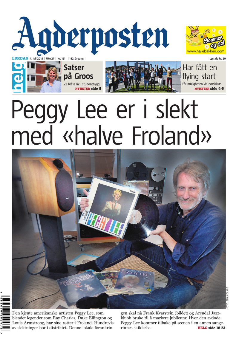 Forsiden av Agderposten - 2015-07-04