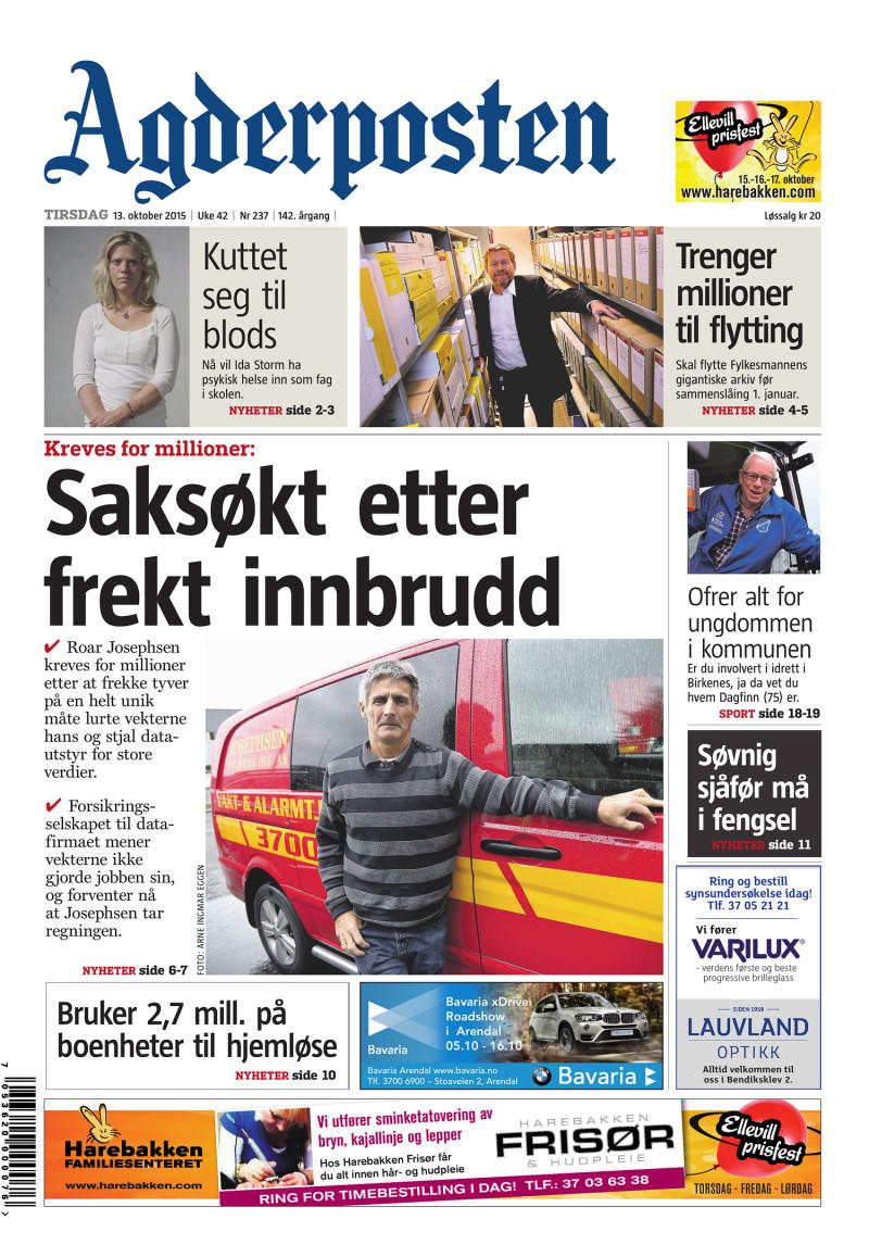 Forsiden av Agderposten - 2015-10-13
