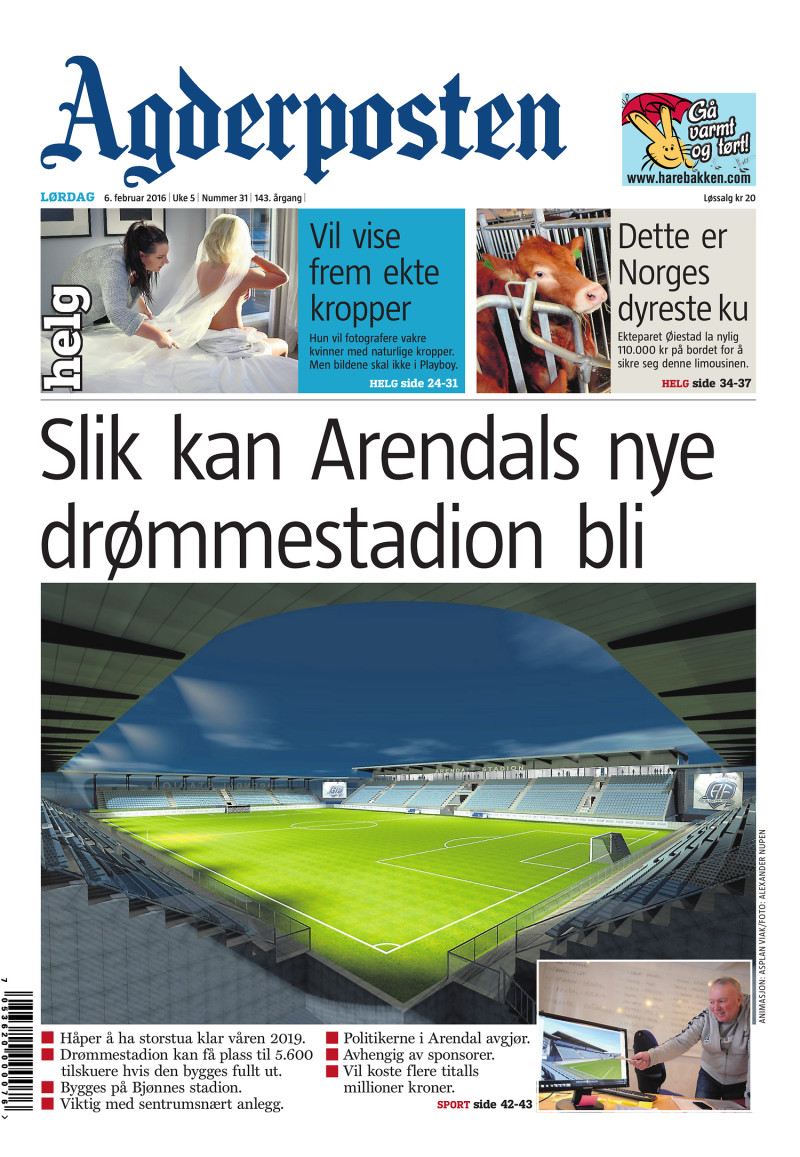 Forsiden av Agderposten - 2016-02-06