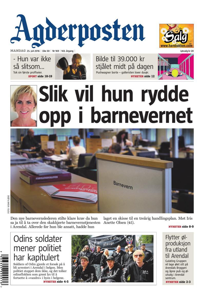 Forsiden av Agderposten - 2016-07-25