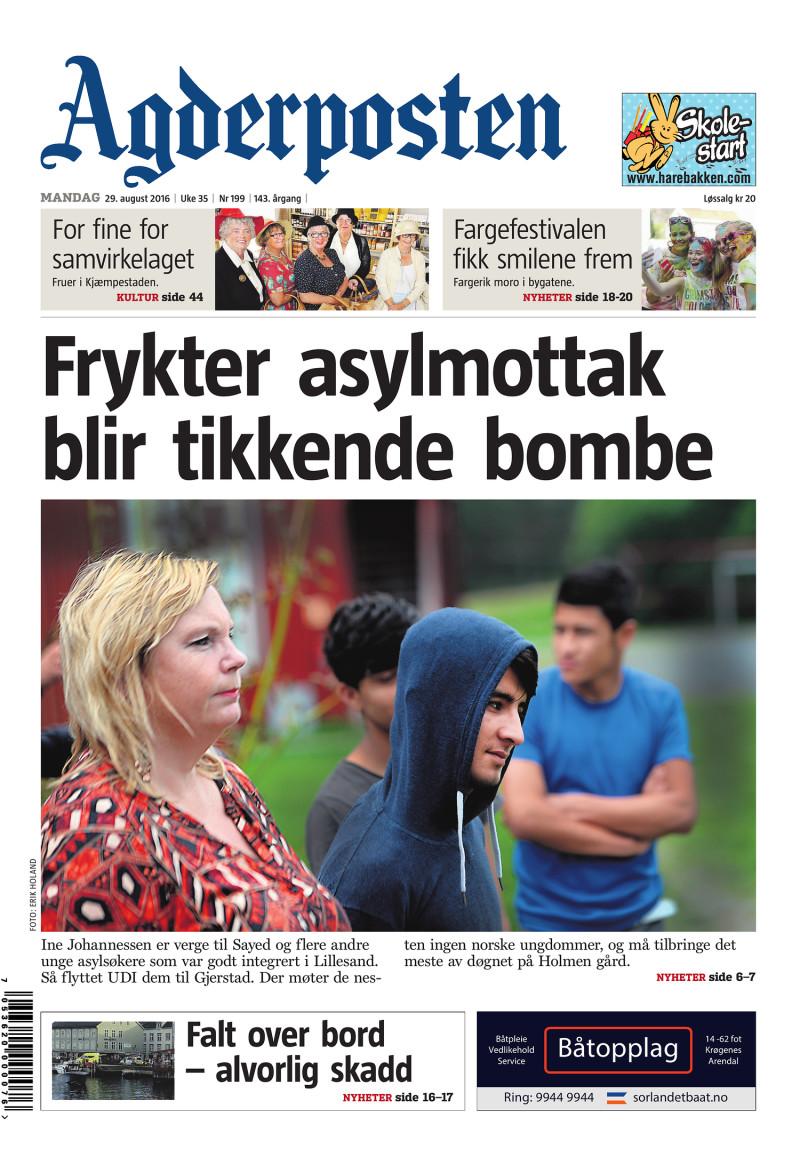 Forsiden av Agderposten - 2016-08-29