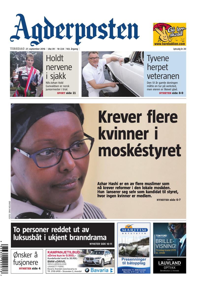 Forsiden av Agderposten - 2016-09-27