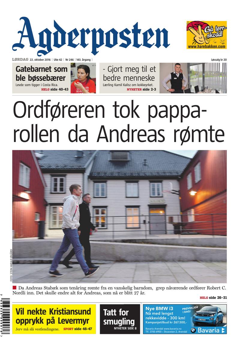 Forsiden av Agderposten - 2016-10-22