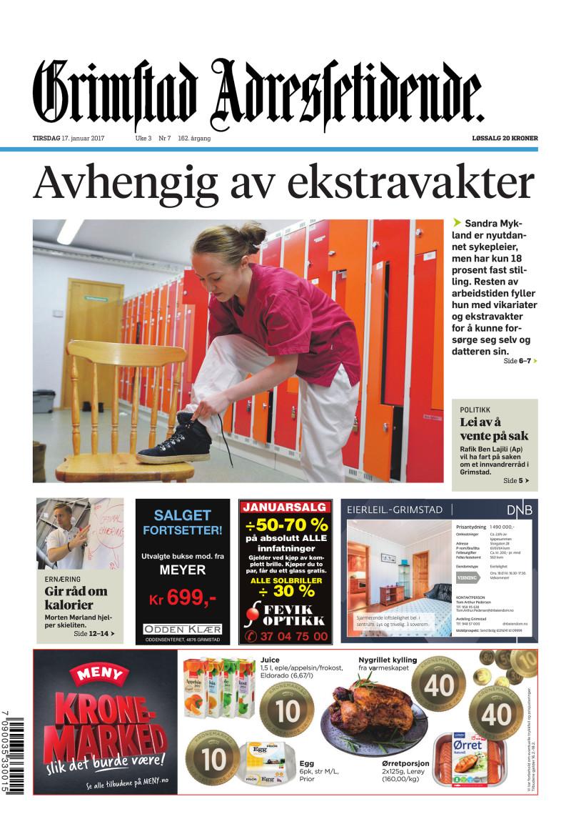 Forsiden av Grimstads Adressetidende - 17.01.2017