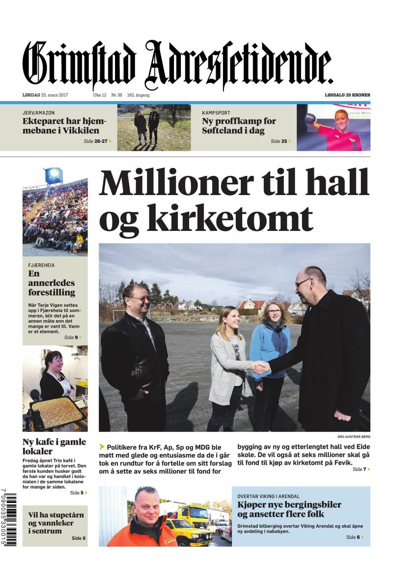Forsiden av Grimstads Adressetidende - 25.03.2017