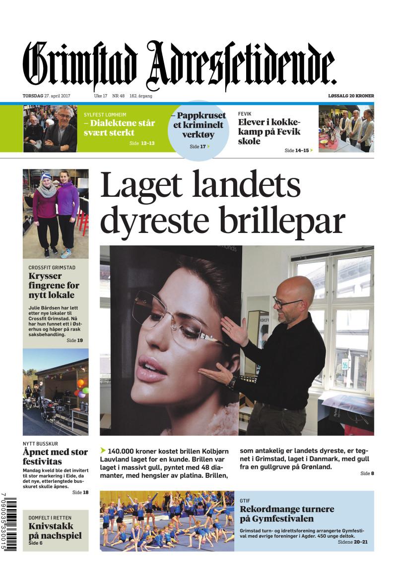 Forsiden av Grimstads Adressetidende - 27.04.2017