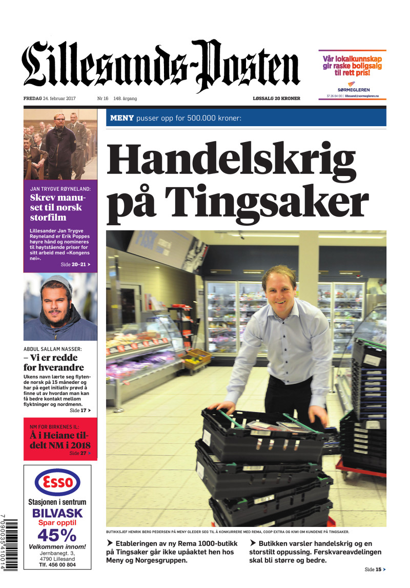 Forsiden av Lillesands-Posten - 2017-02-24