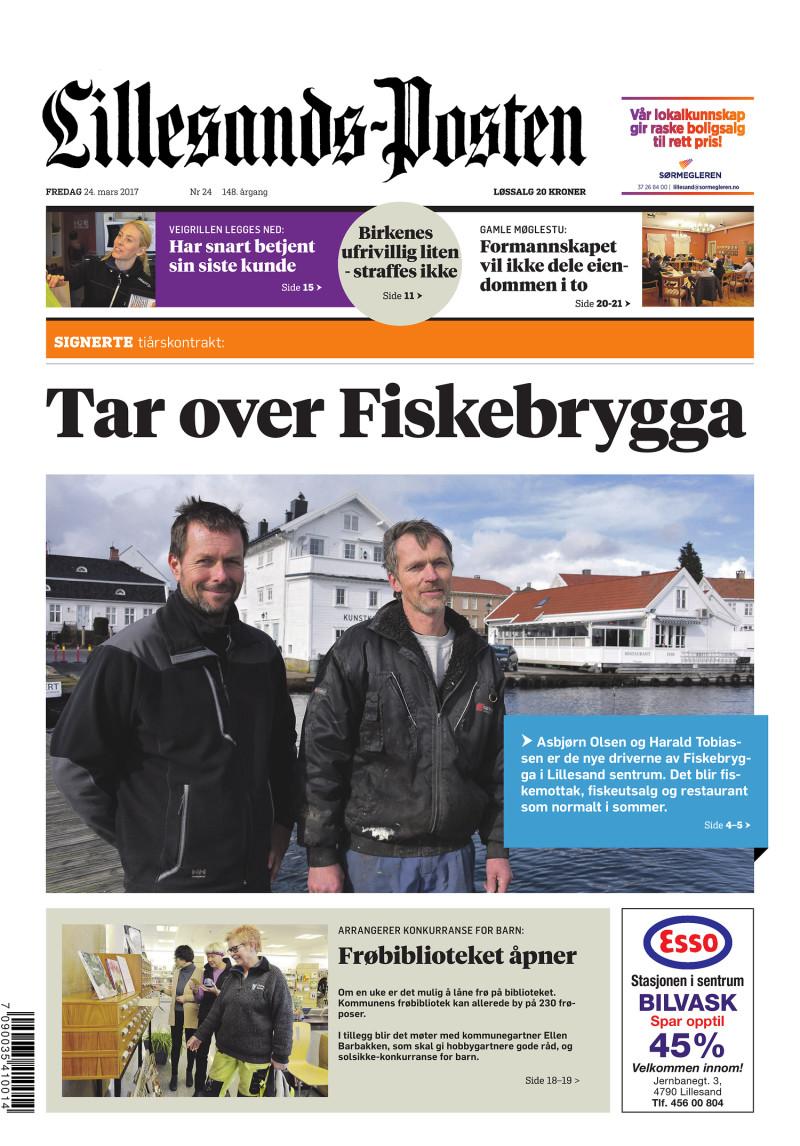 Forsiden av Lillesands-Posten - 2017-03-24