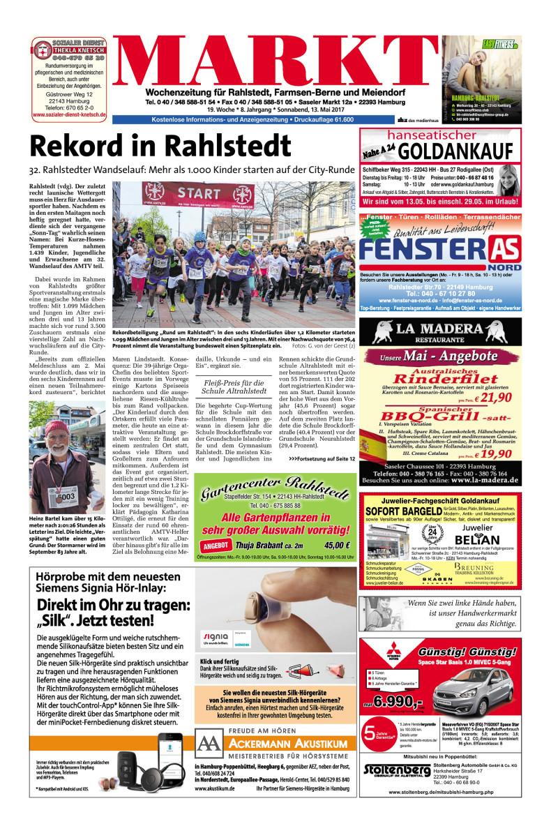 Wochenzeitung Für Rahlstedt Farmsen Berne Und Meiendorf 13052017