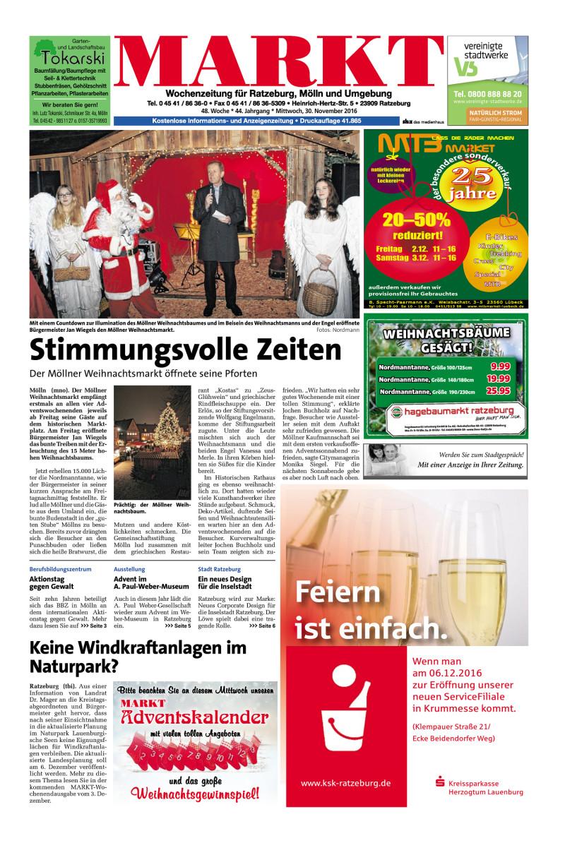 Wochenzeitung Für Ratzeburg, Mölln Und Umgebung   30.11.2016