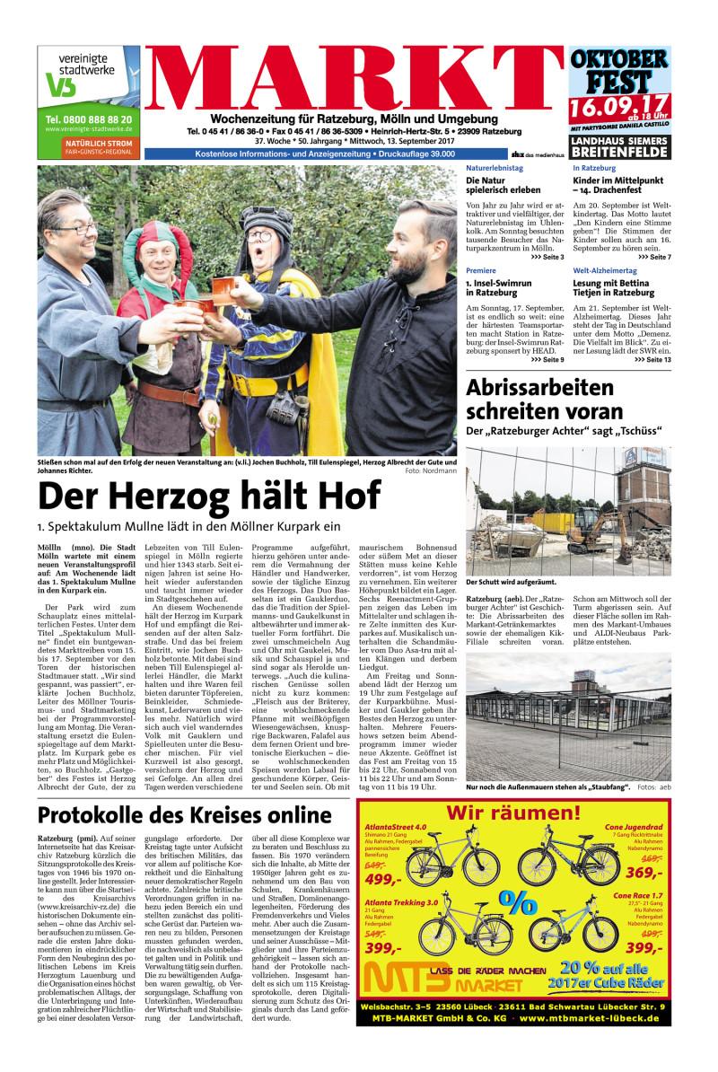 Wochenzeitung für Ratzeburg, Mölln und Umgebung - 13.09.2017