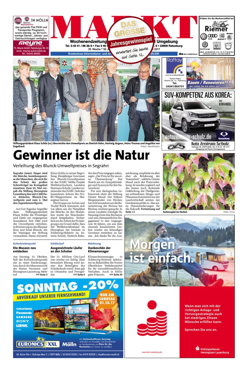 Wochenendzeitung für Ratzeburg, Mölln und Umgebung - 30.09.2017