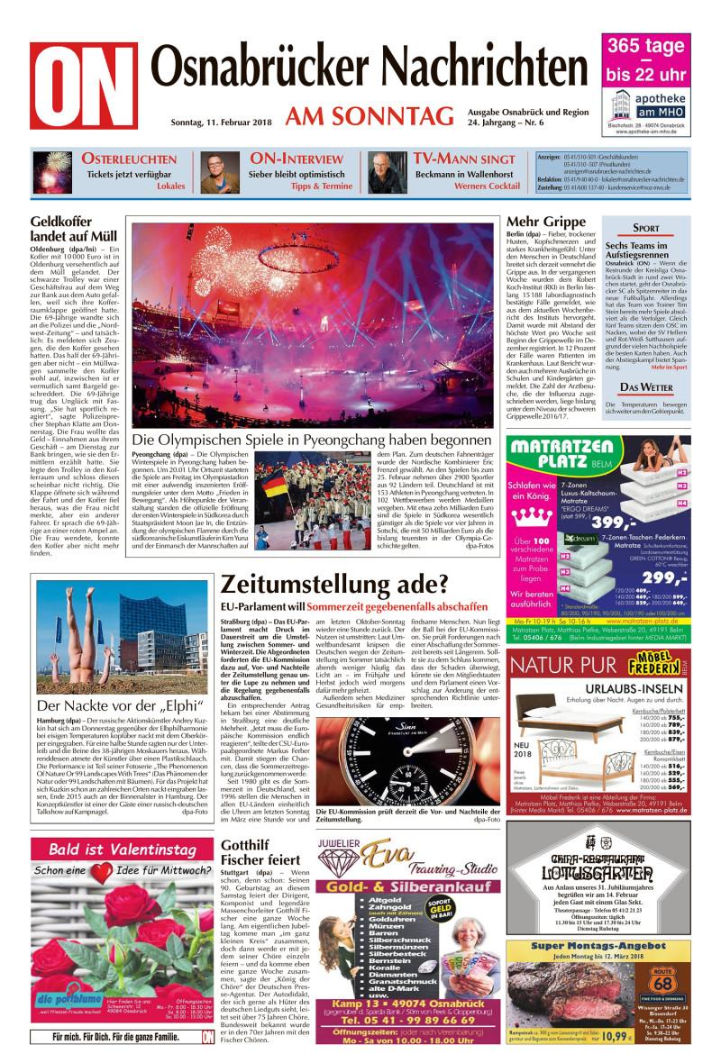 Osnabrücker Nachrichten am Sonntag Osnabrück und Region - 11.02.2018