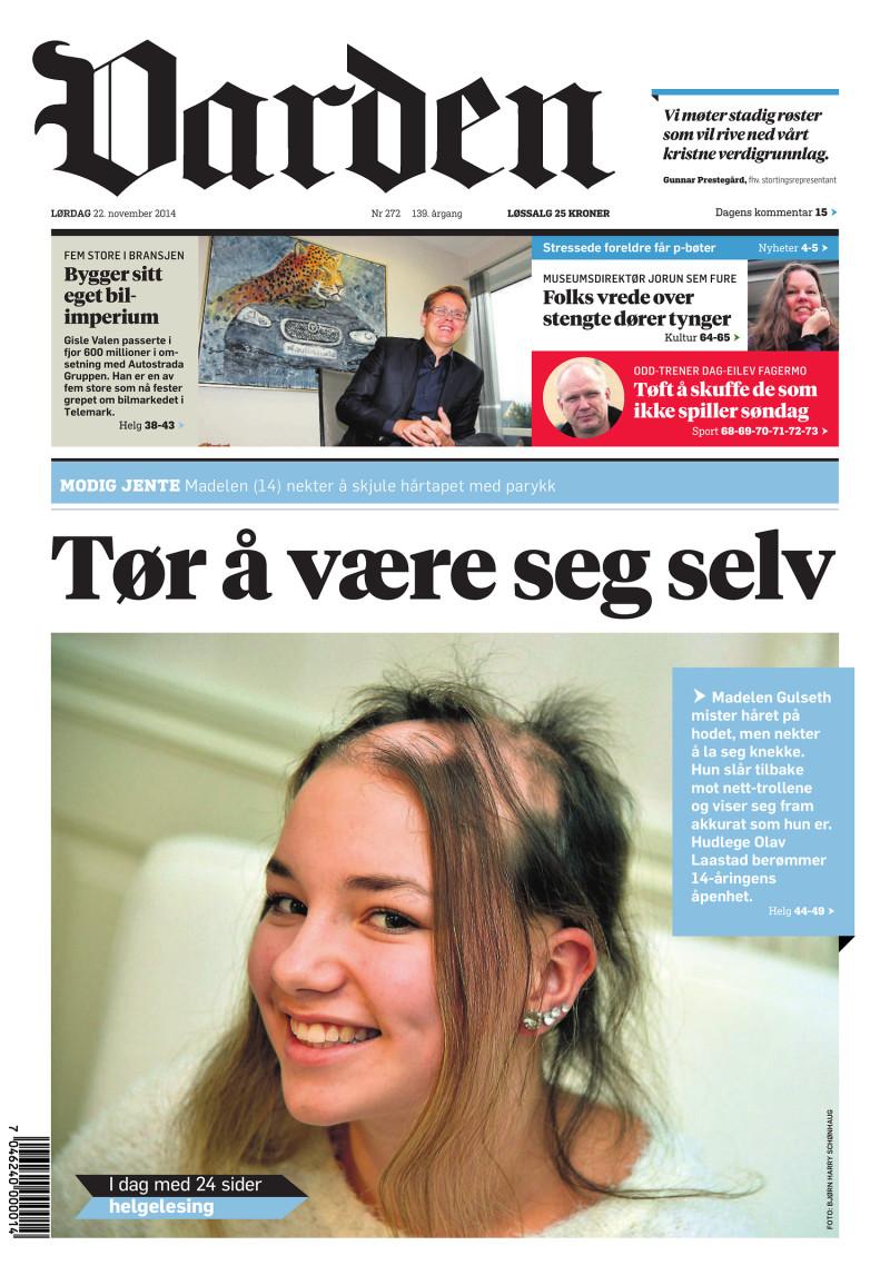 Forsiden af Varden - 22.11.2014