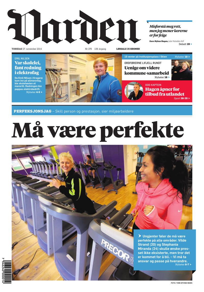 Forsiden af Varden - 27.11.2014