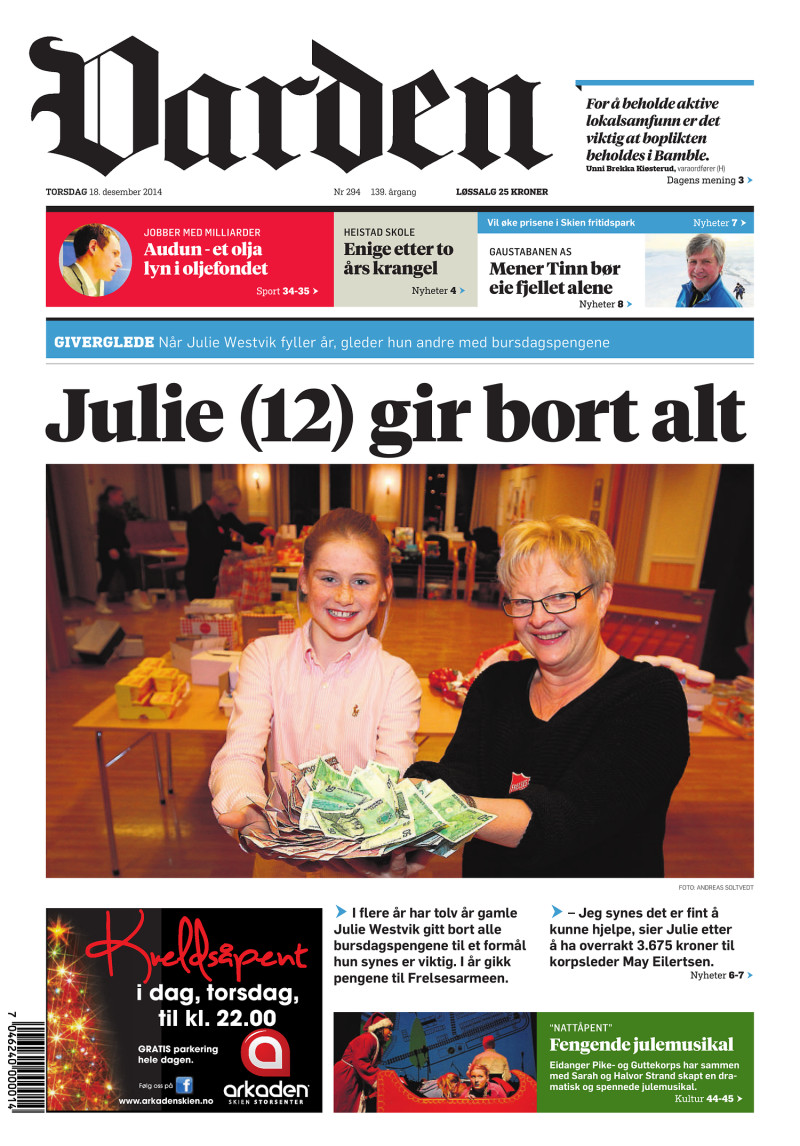 Forsiden af Varden - 18.12.2014