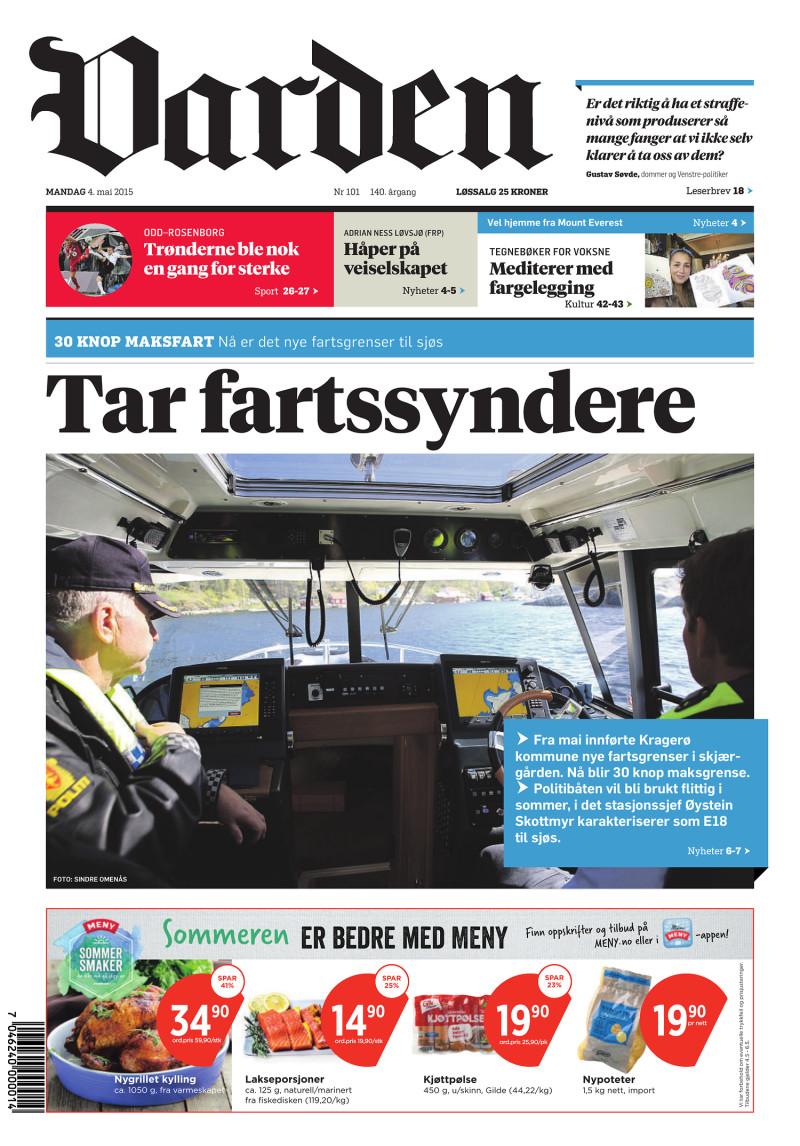Forsiden av Varden - 04.05.2015