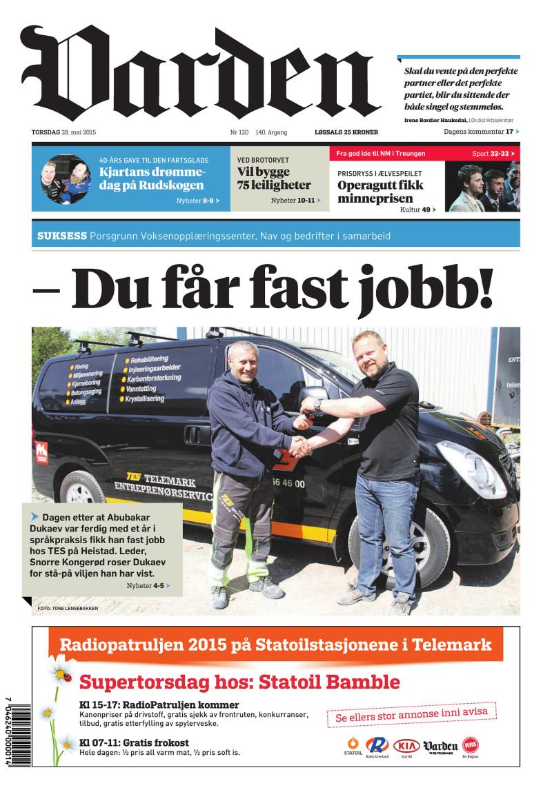 Forsiden av Varden - 28.05.2015