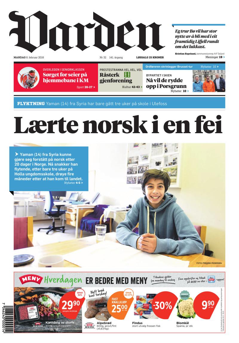 Forsiden av Varden - 08.02.2016
