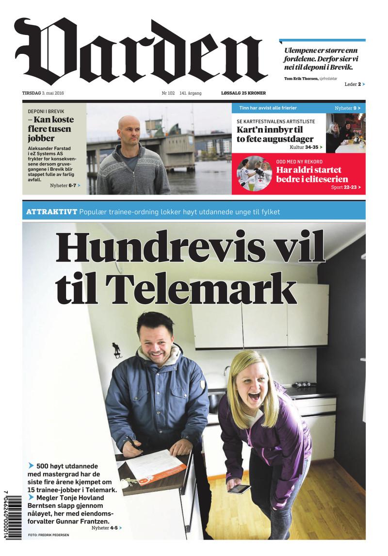 Forsiden av Varden - 03.05.2016
