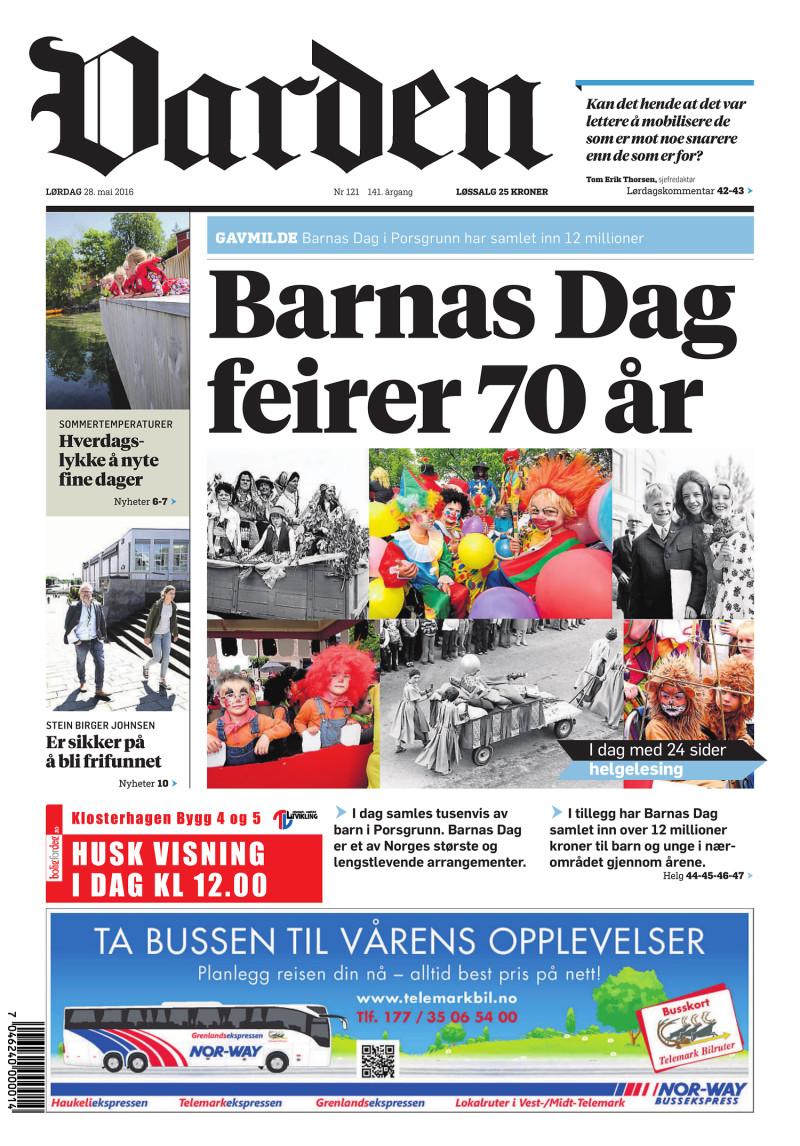 Forsiden av Varden - 28.05.2016
