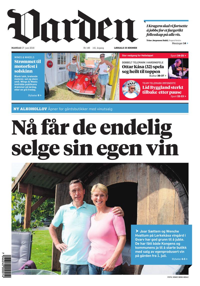 Forsiden av Varden - 27.06.2016