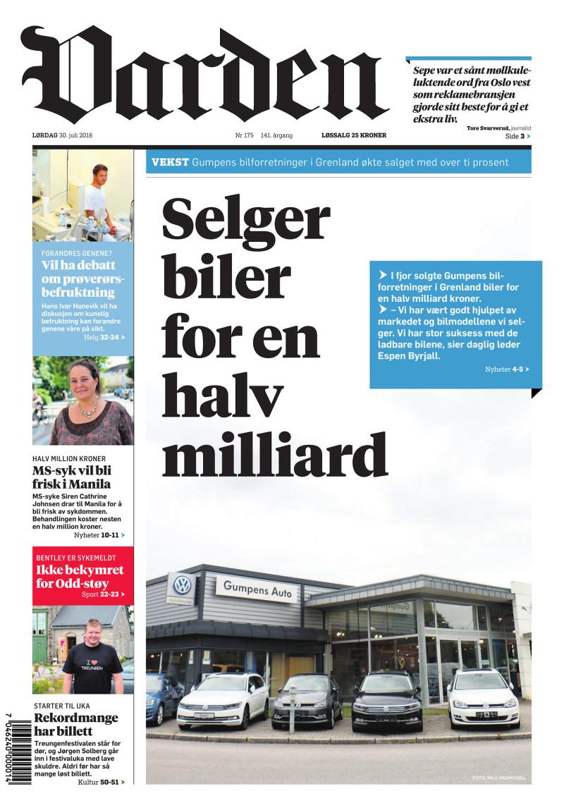Forsiden av Varden - 30.07.2016