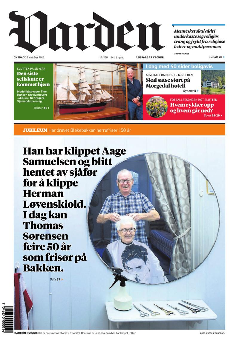 Forsiden av Varden - 26.10.2016