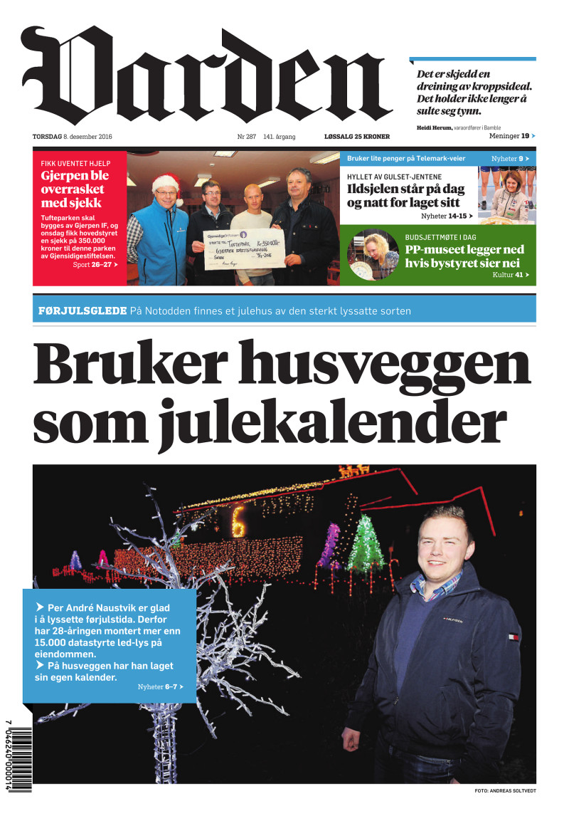 Forsiden av Varden - 08.12.2016