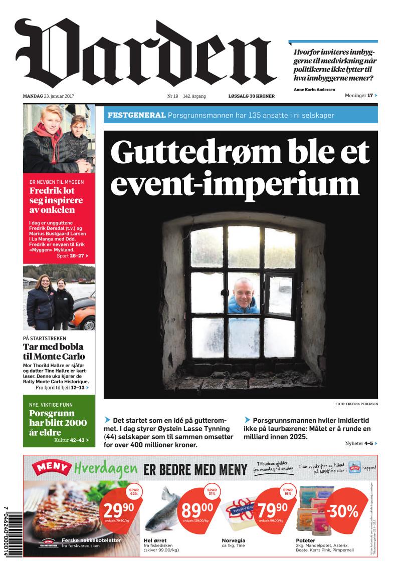 Forsiden av Varden - 23.01.2017