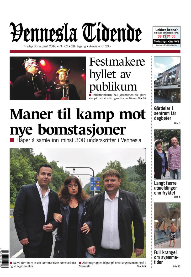 Forsiden av Vennesla Tidende - 30.08.2016