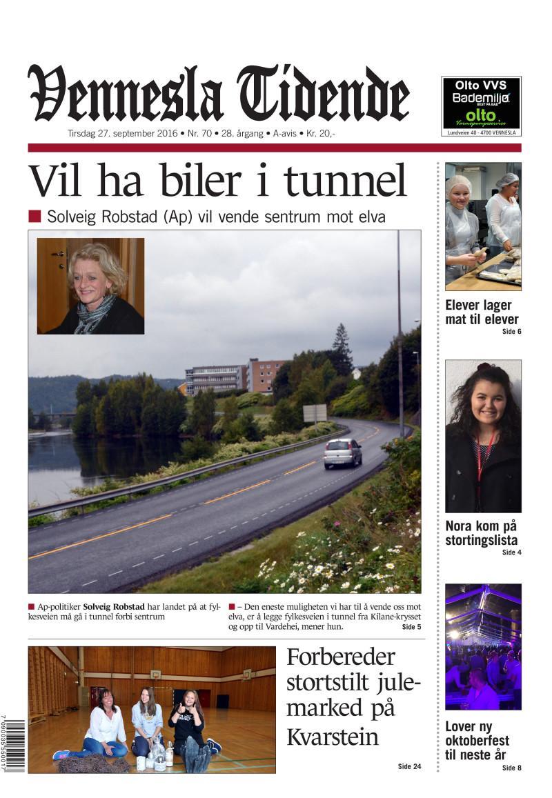 Forsiden av Vennesla Tidende - 27.09.2016