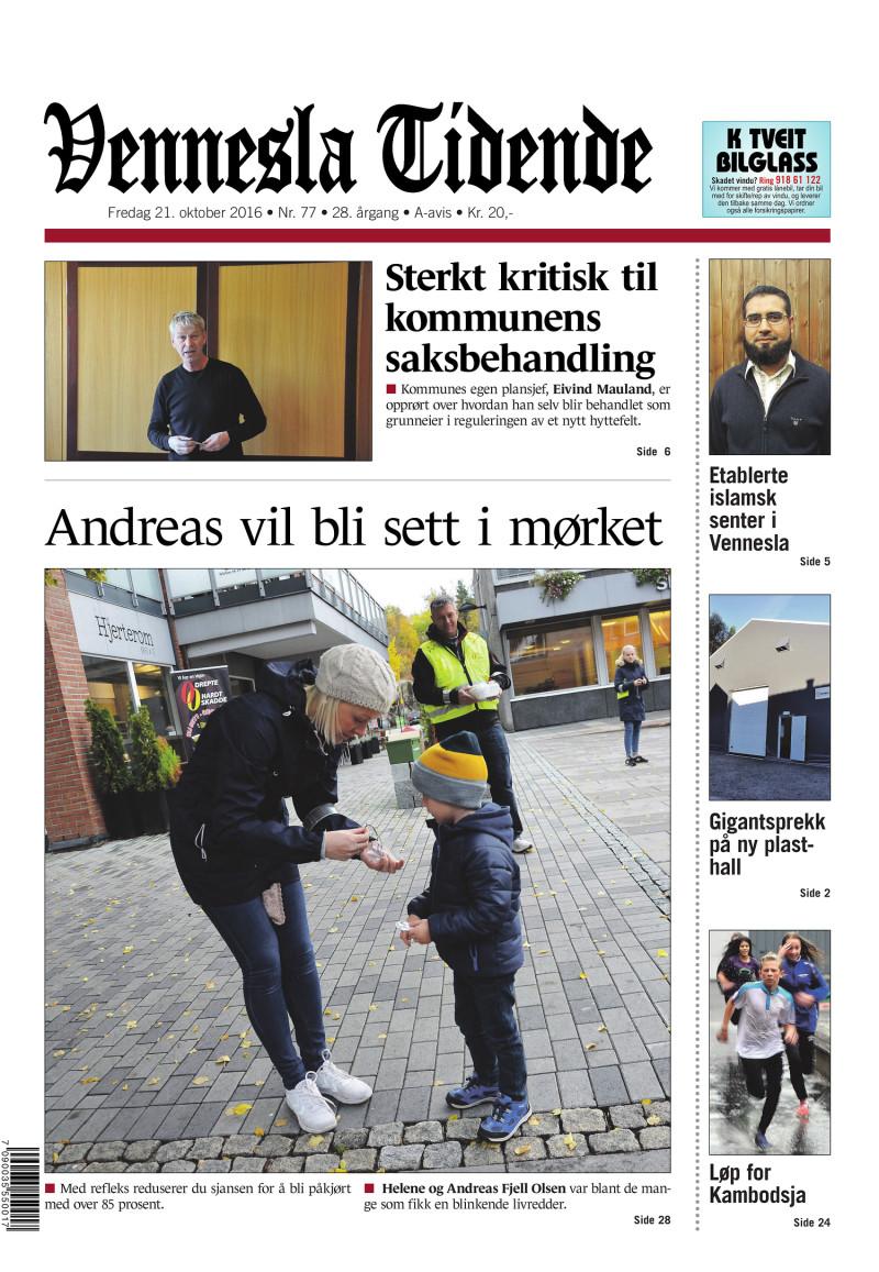 Forsiden av Vennesla Tidende - 21.10.2016