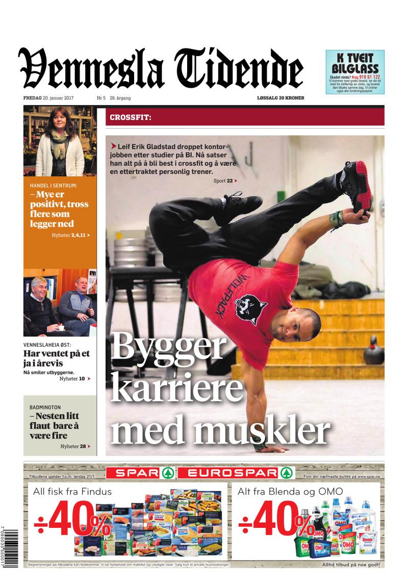 Forsiden av Vennesla Tidende - 20.01.2017