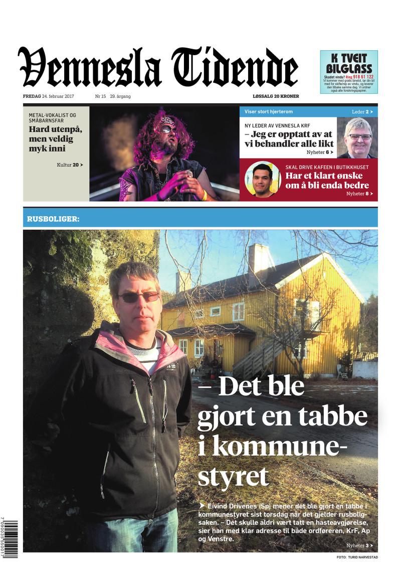 Forsiden av Vennesla Tidende - 24.02.2017