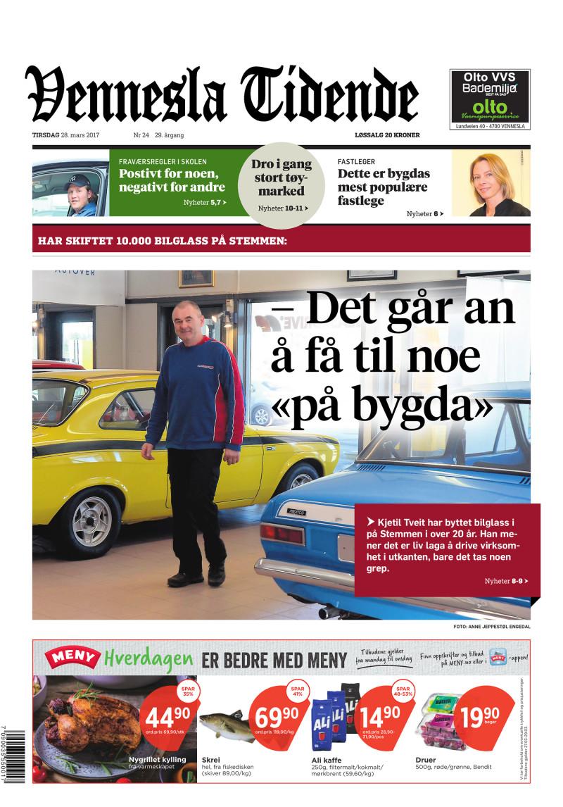 Forsiden av Vennesla Tidende - 28.03.2017