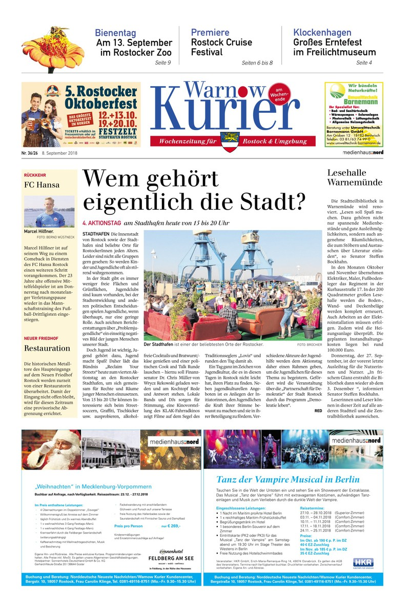 Warnow Kurier am Wochenende - 08.09.2018