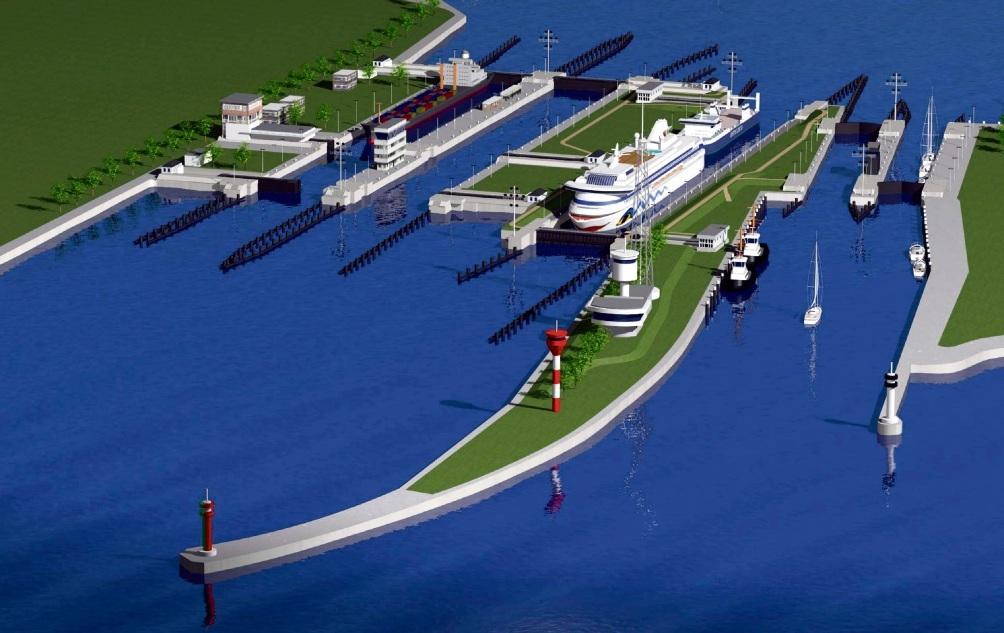 So soll es einmal aussehen: Die großen Schiffe liegen in der neuen fünften Schleusenkammer, neben der die Reste der Schleuseninsel zu sehen sind, rechts  die zwei kleinen Schleusen.