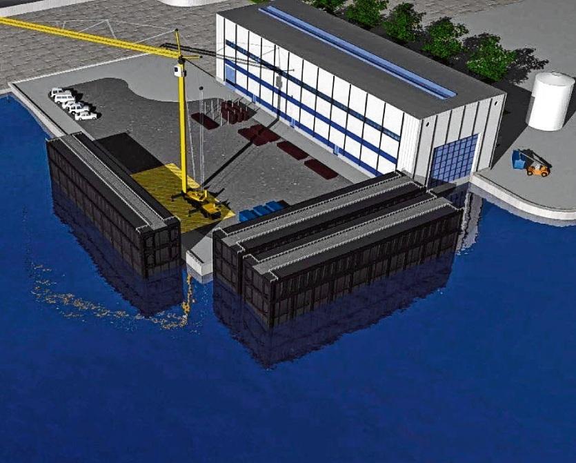 """Das Trockendock soll am WSA-Betriebshafen an der Ostermoorer Straße errichtet werden In der Grafik sind drei Schleusentore dort geparkt.Grafik: WSA Brunsbüttel"""""""