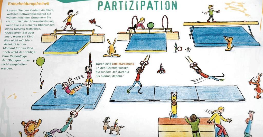 """Der kostenlose Kalender der Deutschen Sportjugend gibt Trainern, Übungsleitern aber  auch Pädagogen wertvolle Tipps für Bewegungsübungen. Der Monat Oktober steht unter  dem Motto """"Partizipation"""".   BILD: Kathrin Kraft"""