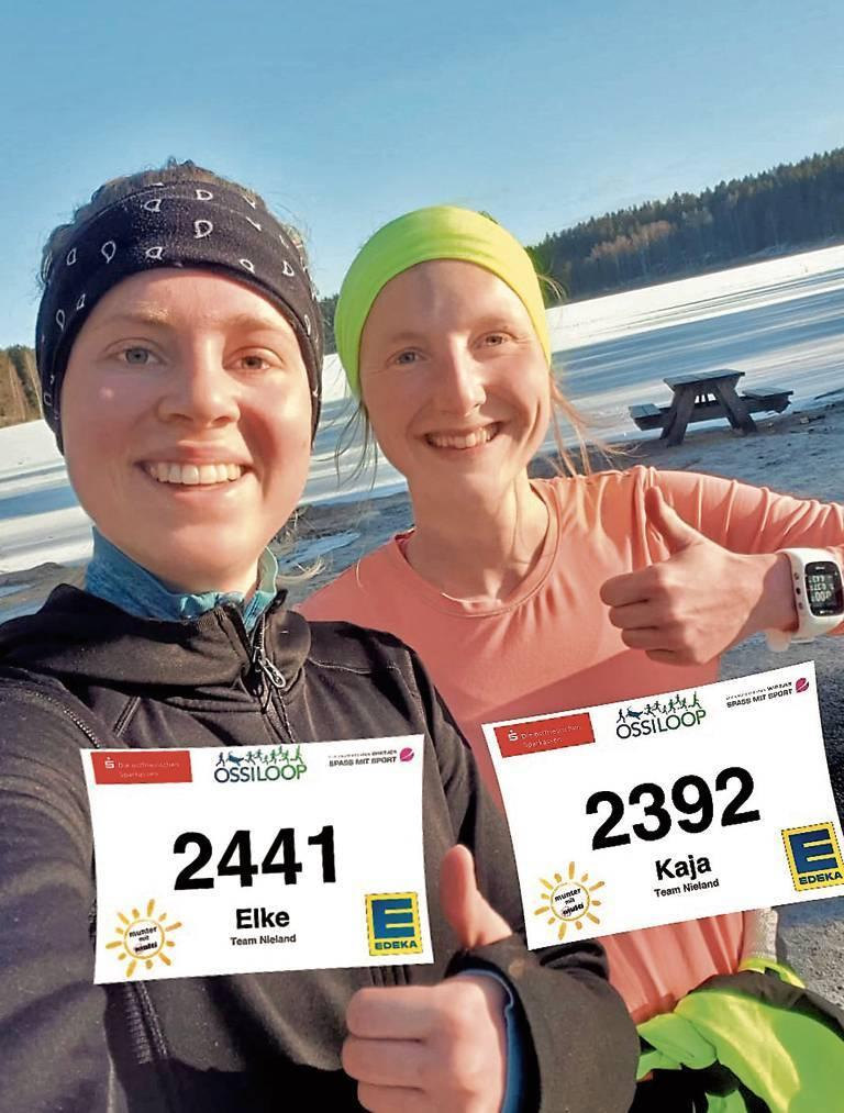 Die Niederländerin Elke Visschers und Kaja Nieland aus Friesland laufen ihre Etappen  rund um Oslo.   BILD: Privat