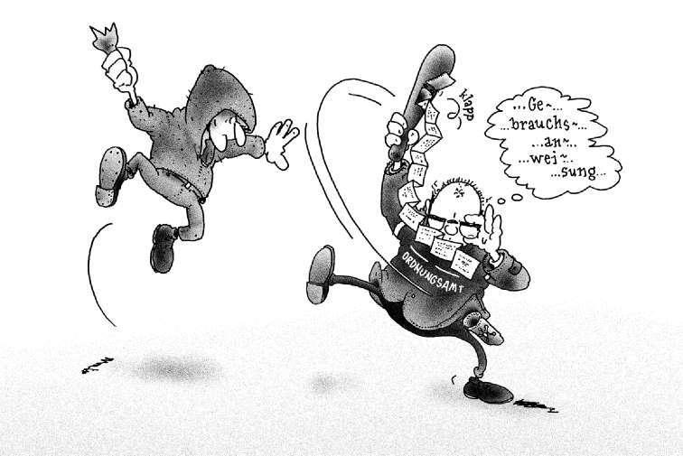 Nur im Notfall dürfen Mitarbeiter des Ordnungsamts die Schlagstöcke einsetzen, mit denen die Stadtverwaltung sie jetzt ausgestattet hat. Der Bürgermeister hat sich dafür prompt die Strafanzeige eines Bürgers eingehandelt, denn längst nicht alle neuen Waffenträger sind im Umgang mit dem Prügel geschult. Ob's dennoch klappt mit der Selbstverteidigung? Man kann es nur hoffen. —Karikatur: U. Queste