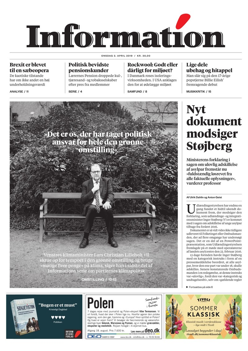 Dagbladet Information forside <span>Onsdag</span> 3. april 2019
