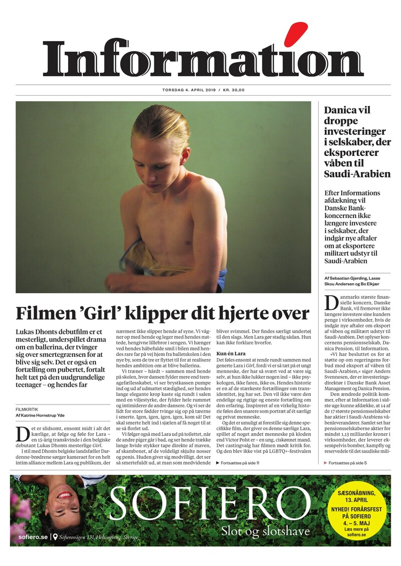 Dagbladet Information forside <span>Torsdag</span> 4. april 2019