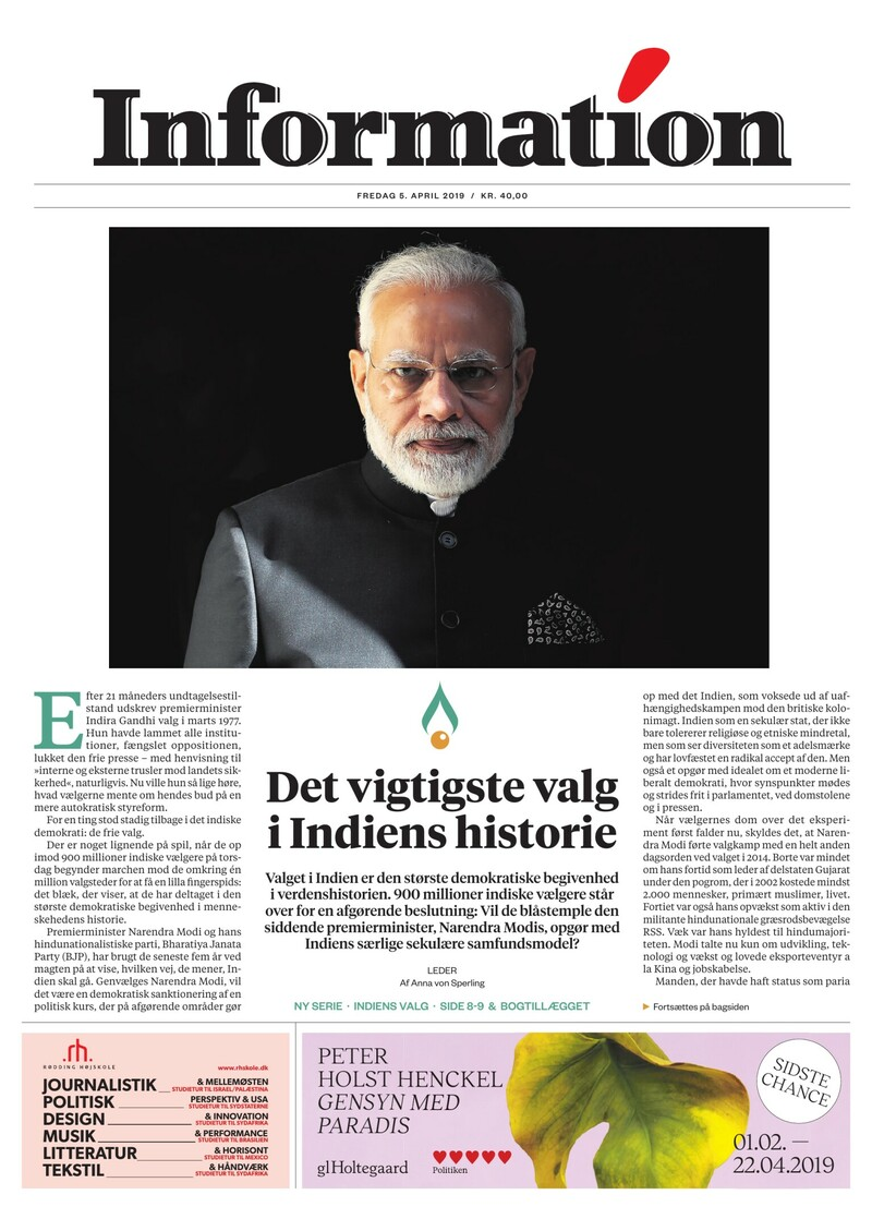 Dagbladet Information forside <span>Fredag</span> 5. april 2019