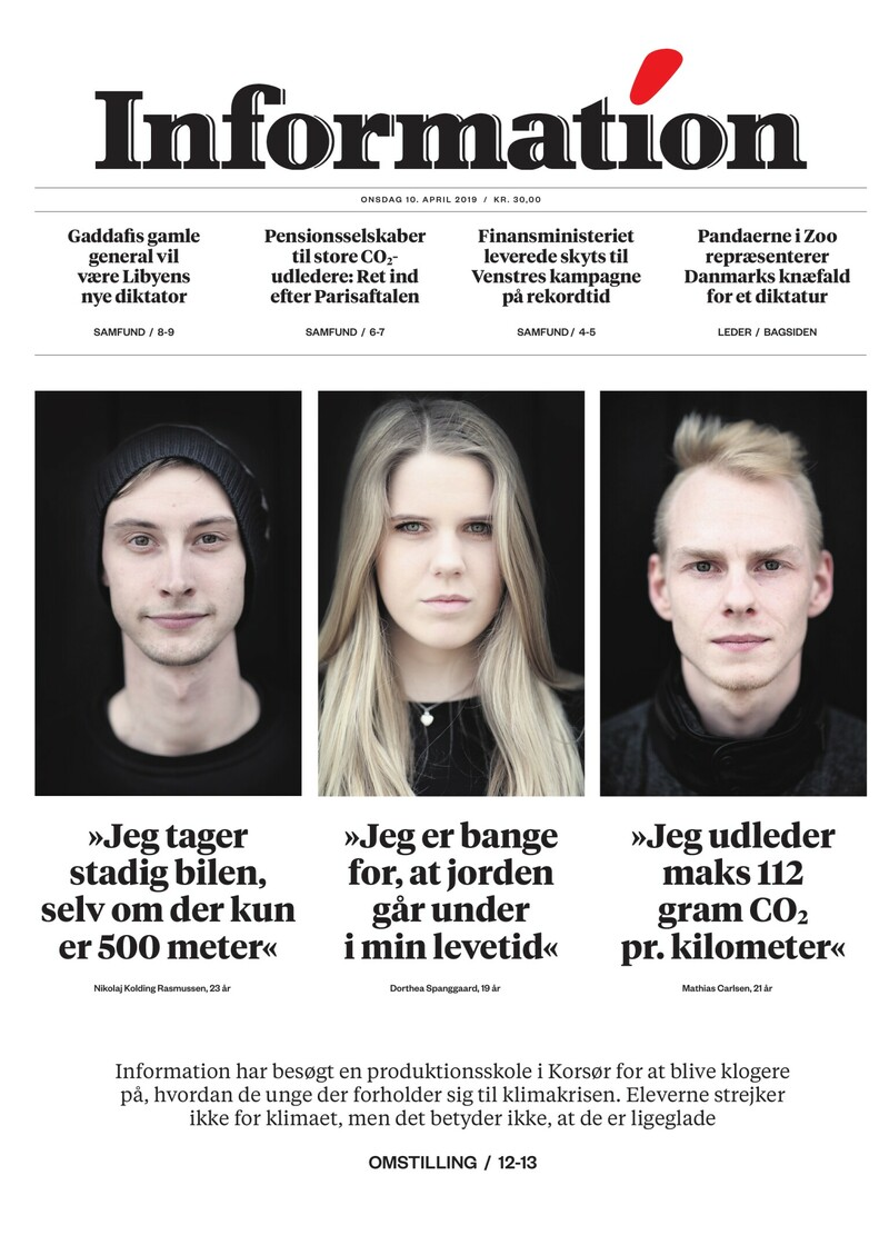 Dagbladet Information forside <span>Onsdag</span> 10. april 2019