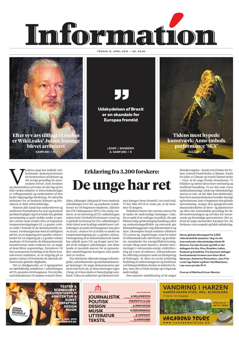 Dagbladet Information forside <span>Fredag</span> 12. april 2019