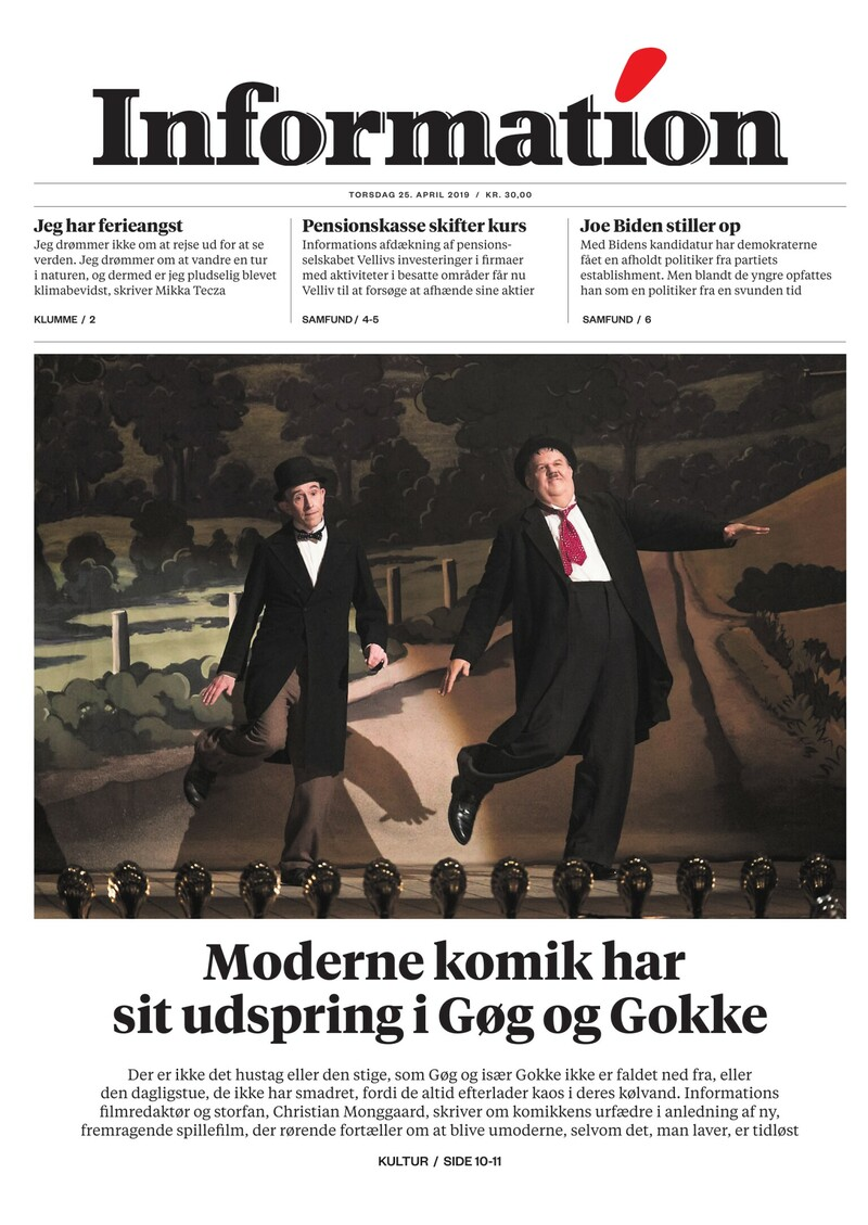 Dagbladet Information forside <span>Torsdag</span> 25. april 2019
