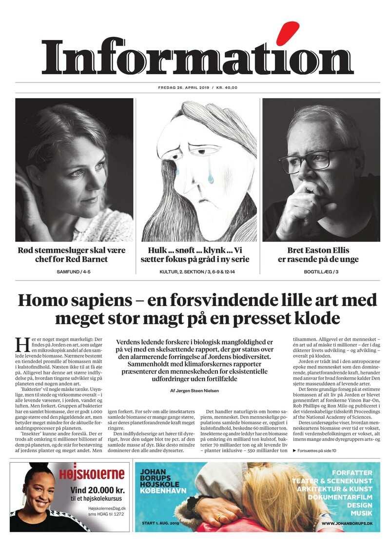 Dagbladet Information forside <span>Fredag</span> 26. april 2019